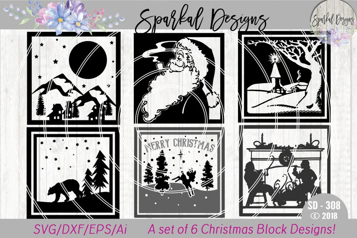 Christmas Glass Block BUNDLE - A Set of 6 Christmas Sign SVG Designs
