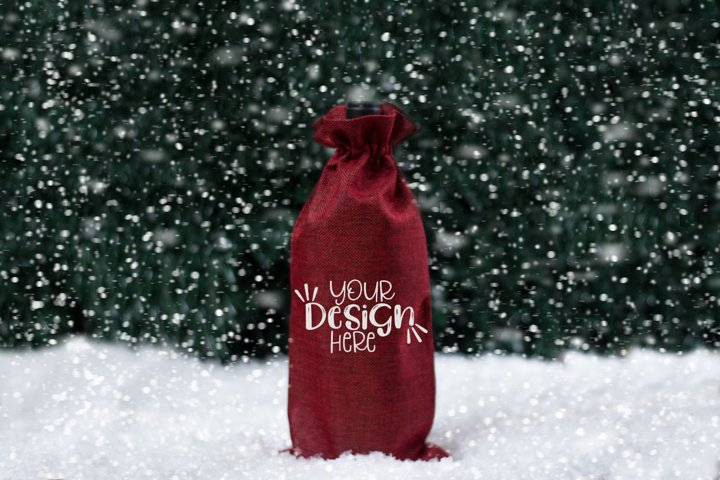 Winter Wine Bag Mockup, Styled Stock Photography