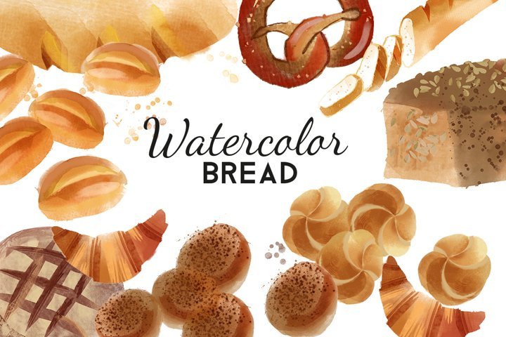 Watercolor bread