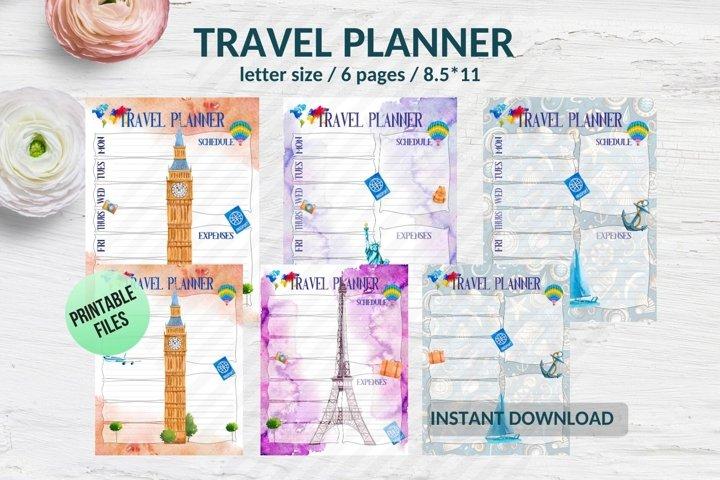 Itinerary planner Travel journal pages printable inserts