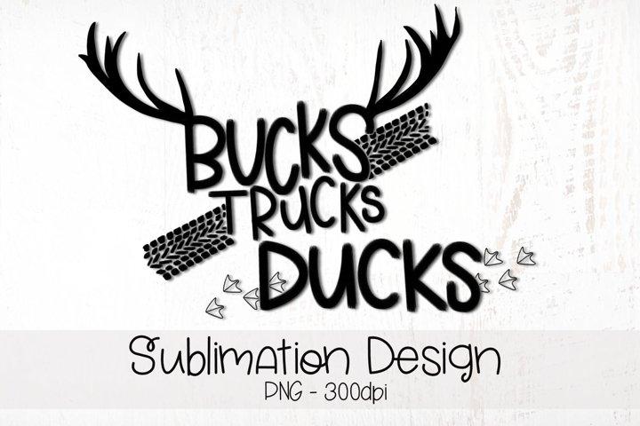 Bucks Trucks Ducks Hand Lettered Sublimation Design