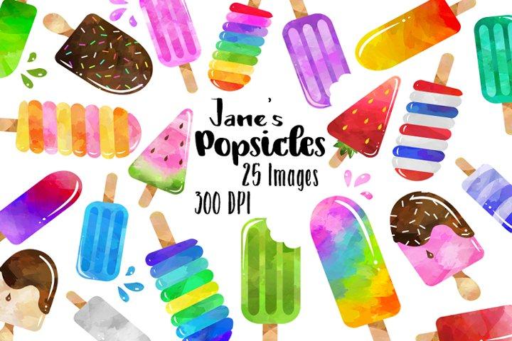 Watercolor Popsicle Clipart
