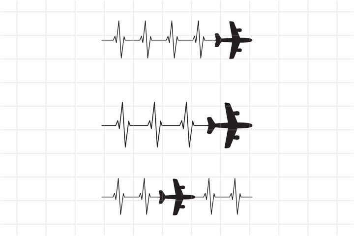 Airplane Heartbeat SVG, family vacation, pilot plane, travel