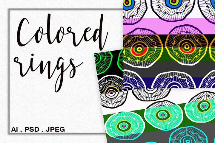 Colored rings digital paper. Ethnic colored rings.