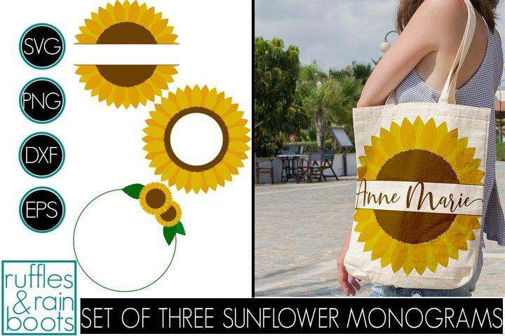 Sunflower Monogram SVG Files - Split Monogram, Open, Wreath