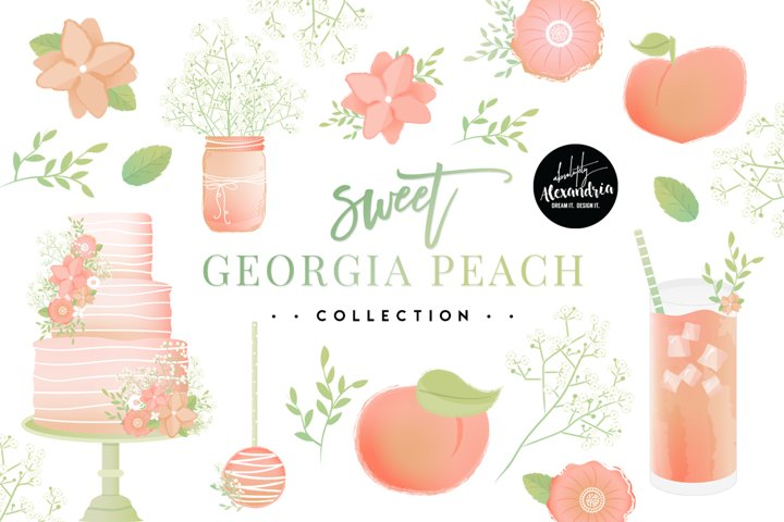 Sweet Georgia Peach Clipart Graphics & Digital Paper Patterns Bundle