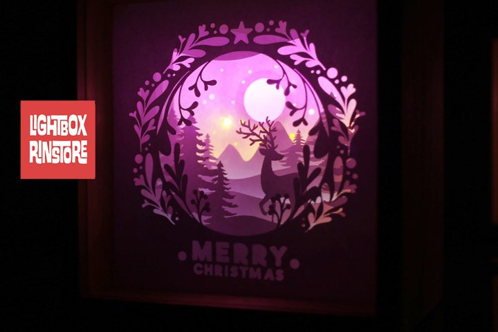 #2 Deer Christmas svg, 3D Shadow box Template SVG