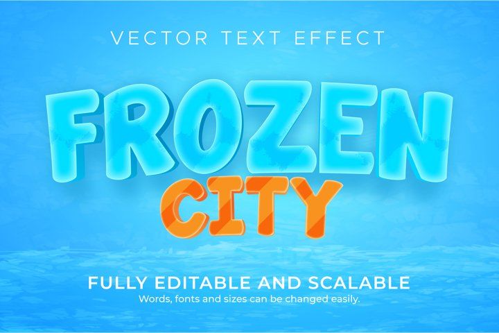 Frozen editable text effect, 3d snow text style