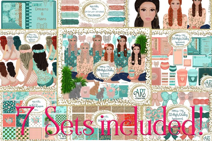 7 Sets Bundle-Graphics Digital Papers,teal coral clipart set