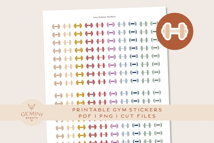 Gym Icon printable Stickers