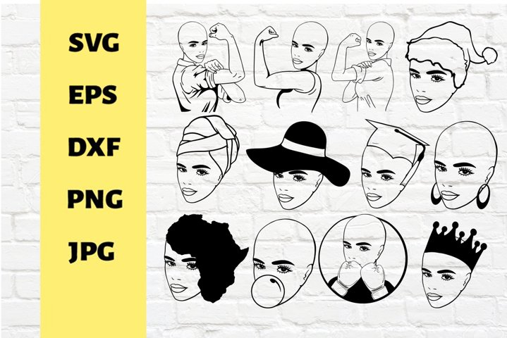 Bundle Bald woman svg, graduation, queen svg , bandhead svg