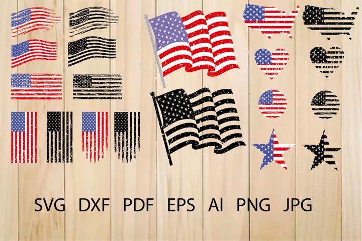 American Flag SVG, Distressed USA flag