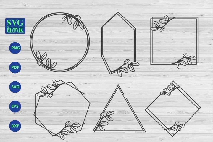 Geometric floral frame SVG, 4 wedding invitation frame