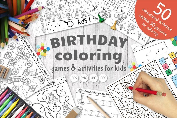 Birthday Coloring Games and Activities for Kids