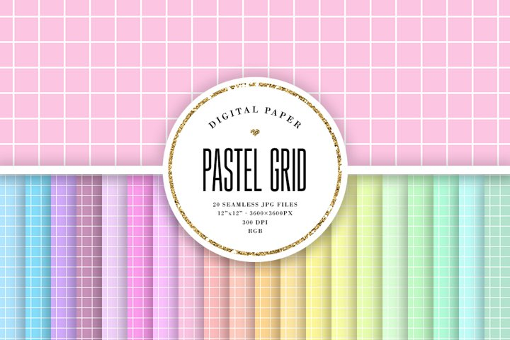 Big Grid Seamless Patterns - Pastel Digital Paper