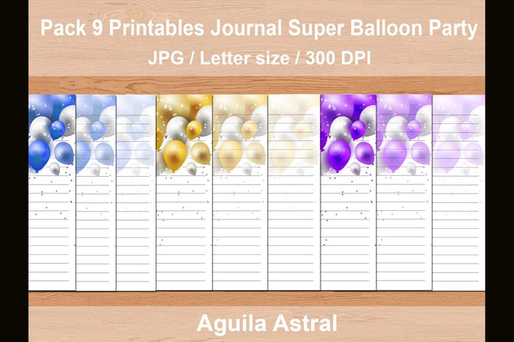 Printable package of 9 Super Ballon Party journal sheets