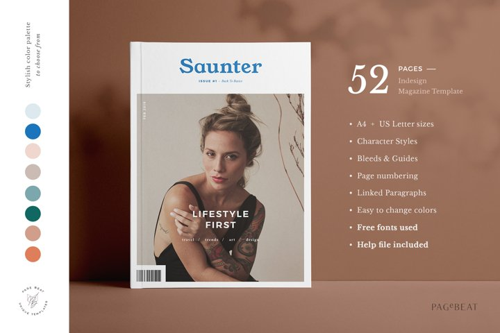 Saunter / Lifestyle Magazine Template / 52 Pages