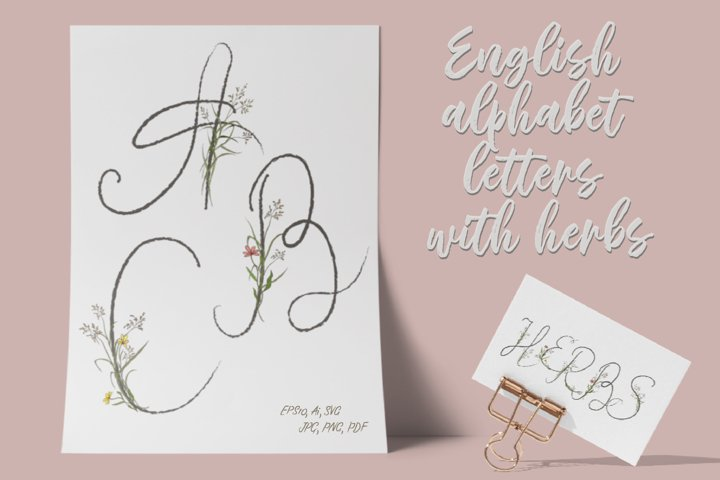 English alphabet letters with field herbs.