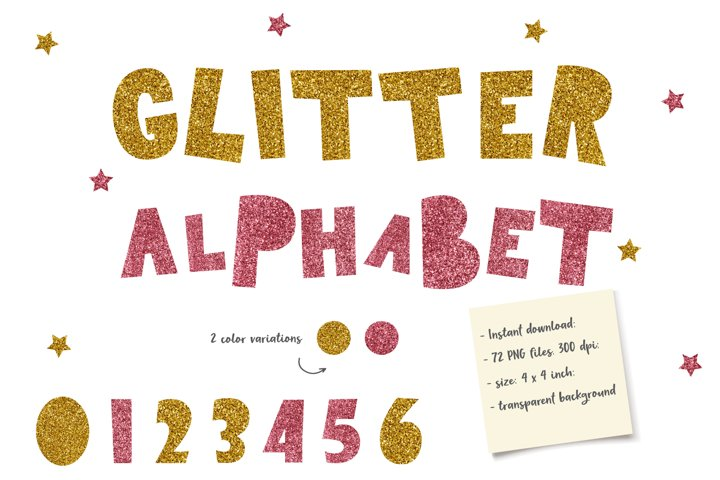 Rose and Gold Glitter Alphabet, Glitter Letters Clipart, PNG