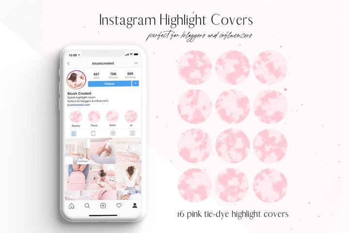 Pink Tie-Dye Instagram Highlight Cover Icons