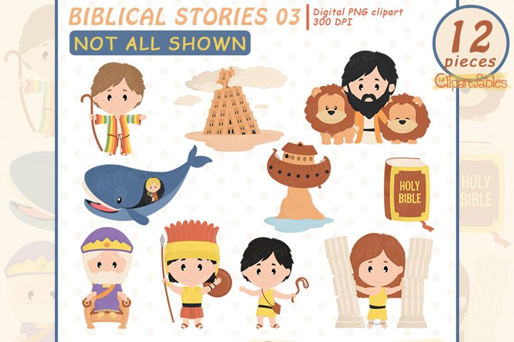 Cute BIBLICAL STORIES clipart for kids - INSTANT download