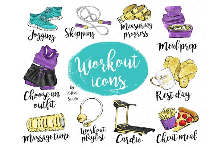 Fitness Planner Icons Clip Art, To Do List, Workout Icons