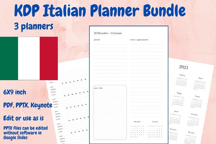 KDP Italian Planner Bundle, 3 planners in PDF, PPTX, Keynote