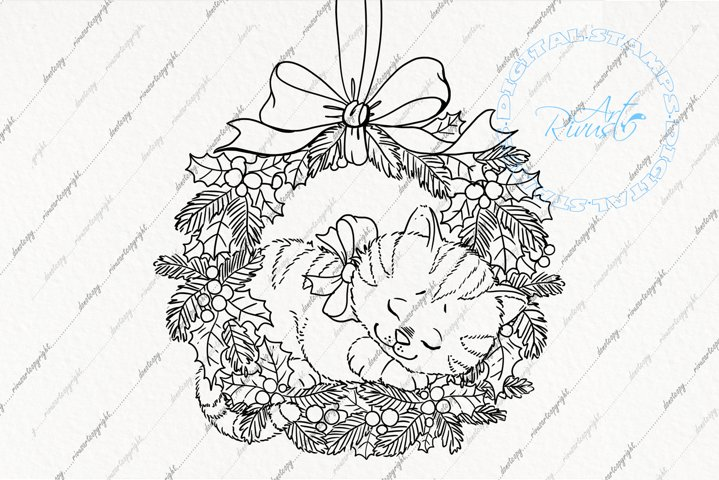 Digital stamp - Christmas Cute Kitten sleeping in wreath