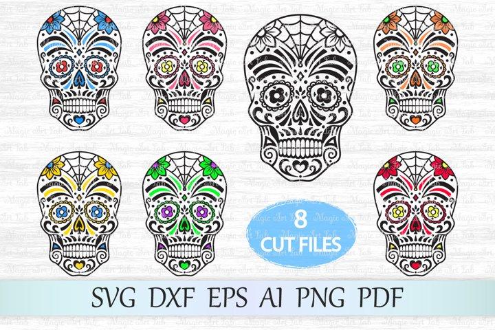 Sugar skull svg, Day of the dead svg, Halloween svg, Clipart