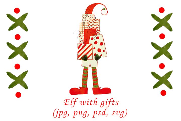 Watercolor Christmas elf with gifts