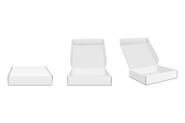 Three Blank Packaging Boxes With Various Views