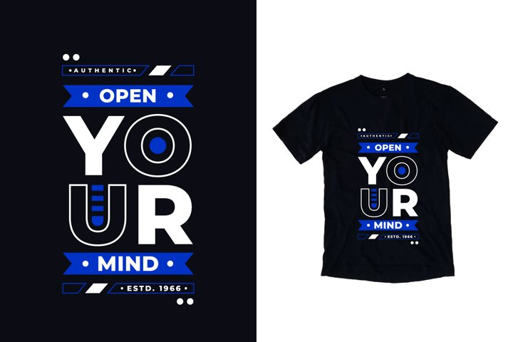 Open your mind typography quote t shirt design