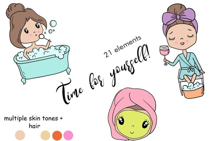 Functional Girls TIME FOR YOURSELF Decorative StIckers - PNG