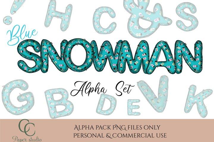 Alphabet set - Sublimation alpha pack - Blue snowman