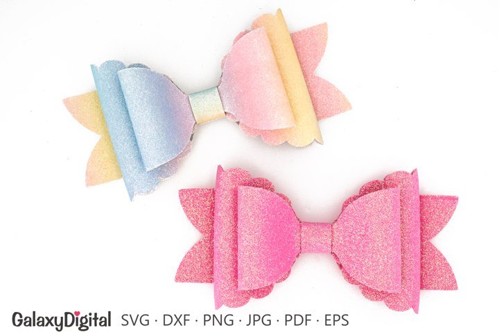 Scalloped Hair Bow SVG, Hair Bow Template SVG