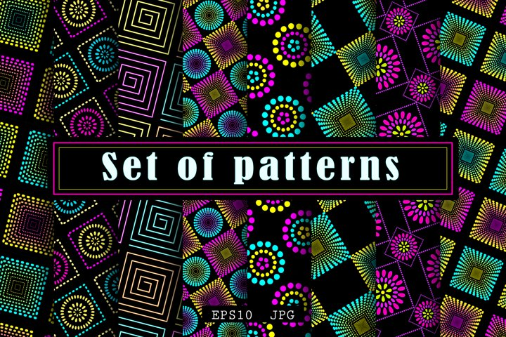 Set of neon patterns