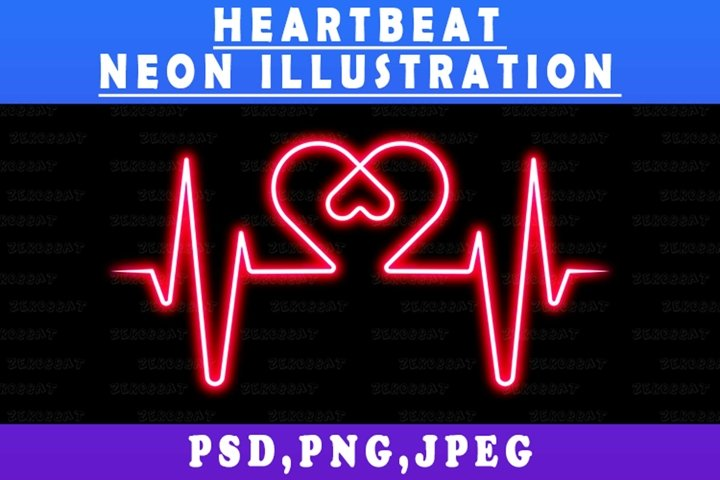 Neon Lines Heartbeat Life Line Valentine illustration art