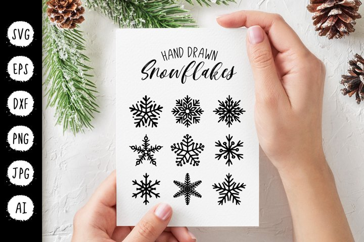 Snowflakes Christmas SVG, New Year Winter Clipart Cut File