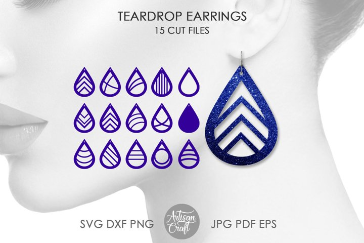 Earrings SVG Cut File for making teardrop earrings