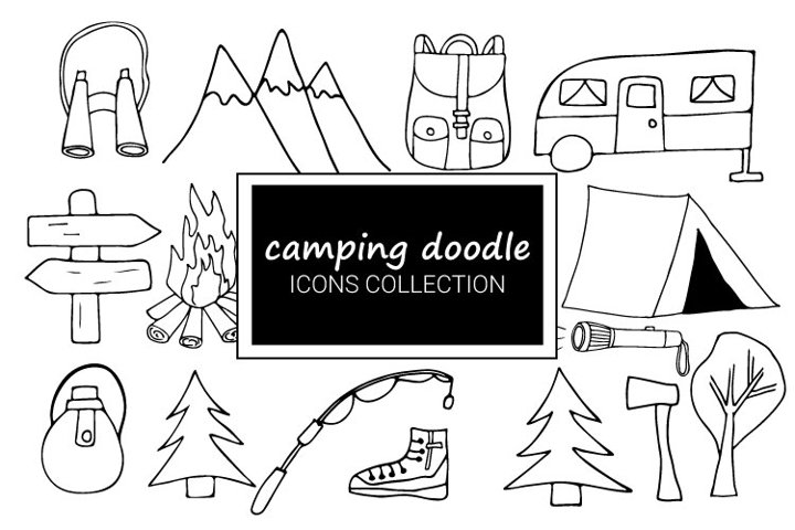 Camping doodle icon collection