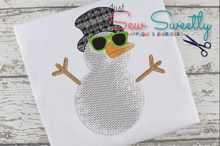 Christmas Snowman Boy Applique Embroidery Design