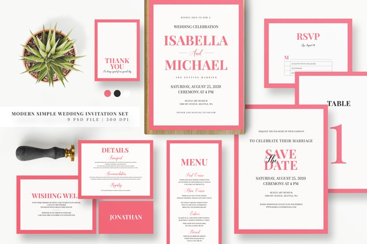 Minimal Pink Invitation Set