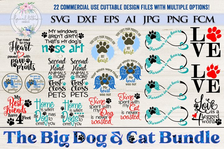 The Big Dog and Cat Bundle of 22 SVG Cut Files