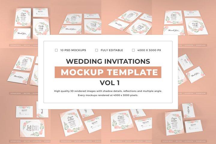 Wedding Invitations Mockup Template Bundle Vol 1