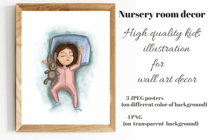 Little girl sleep on pillow with bunny. Printable wall art