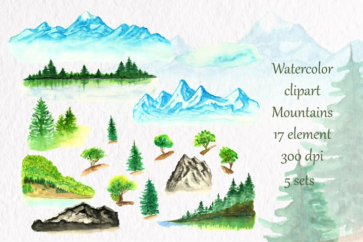 Watercolor clipart Mountains Lake Trees Watercolor clipart