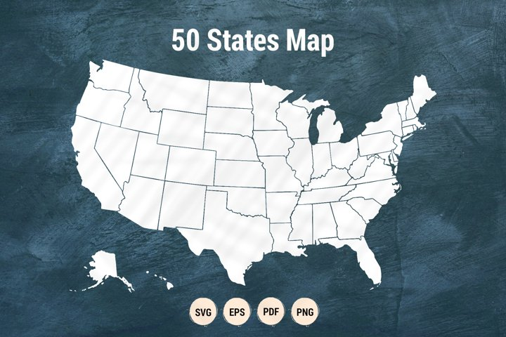 50 united states of America map | SVG clipart cutting files