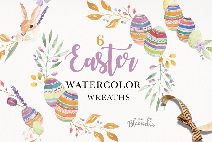 Easter Watercolor Wreaths 6 Floral Garland Bunny Flower Eggs