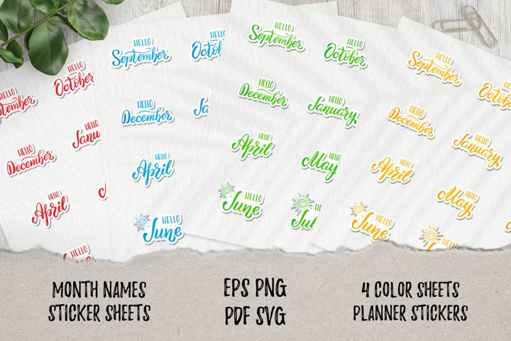 Planner 12 month stickers | SVG|PNG|PDF|EPS