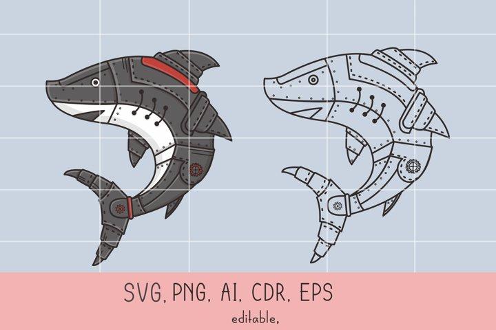Shark Vector Illustration | Steampunk Style